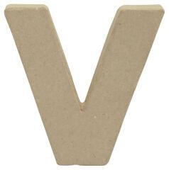 décopatch Lettre 3D 'v', papier mâché, 85 x 85 mm