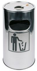 APS Cendrier sur colonne/poubelle, acier inoxydable, argenté